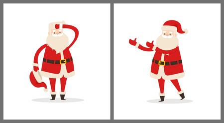Babbo Natale imposta stanco Babbo Natale rimandato cappello e tiene la mano sulla testa e con le icone allungate dell'illustrazione di vettore di vista laterale delle mani isolate su bianco. Archivio Fotografico - 92135495