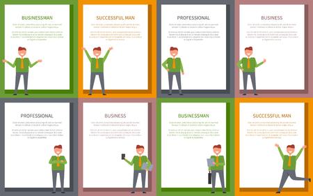 白い長方形にカラフルな背景とテキストを持つポスターの成功とビジネス関連のコレクション。笑顔の男性ポーズのベクトルイラスト 写真素材 - 92137309