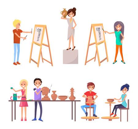 De gelukkige studenten die hun vaardigheden verbeteren tijdens klasse op kunstacademie isoleerden vectorillustratie op wit. Jongens en meisjes vervullen hun potentieel als kunstenaar Stock Illustratie