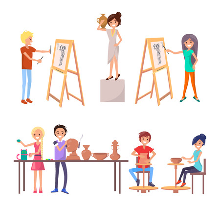 Happy students improving their skills during class at art school isolated vector illustration on white. Boys and girl fulfilling their potential as artists