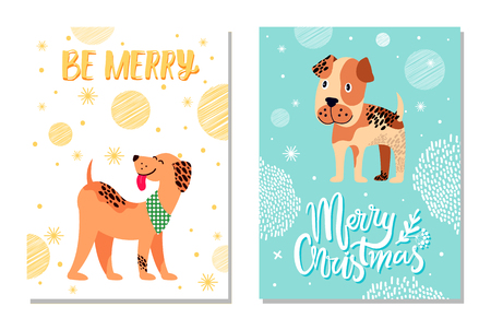 Merry Christmas festive postcards with snowflakes and weimaraner and boxer dogs as symbols of 2018 year isolated cartoon vector illustrations.