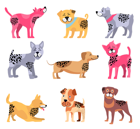 Dogs of different breeds icons isolated on white background. Vector illustration with dachshund surrounded by rottweiler, beagle and playing akita Illustration