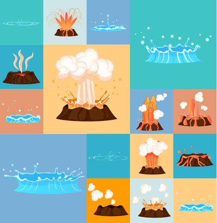 活火山と間欠泉の行動の概念  イラスト・ベクター素材