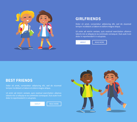 Girlfriends and best friends collection of banners. Vector illustration of young student with backpacks communicating with one another