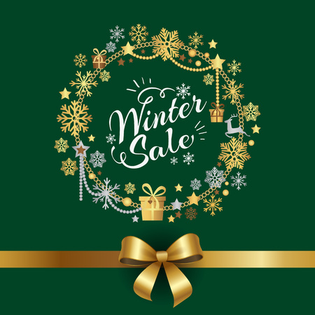 Winter sale poster in decorative frame made of silver and golden snowflakes and abstract present boxes, on green background with bow in bottom
