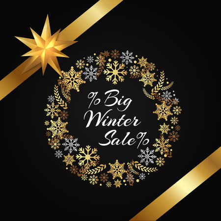 Big winter sale poster decorative frame made of golden snowflakes, snowballs of gold in x-mas border on black vector with bow and ribbon in corner