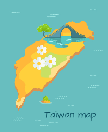Taiwan Map with big white camomile and New Moon Bridge on the island in sea. Chinese island in Pacific Ocean vector illustration. Famous place with amazing unusual architectual construction. Ilustracja