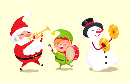 Santa Claus with Elf and Snowman Playing Music Illustration