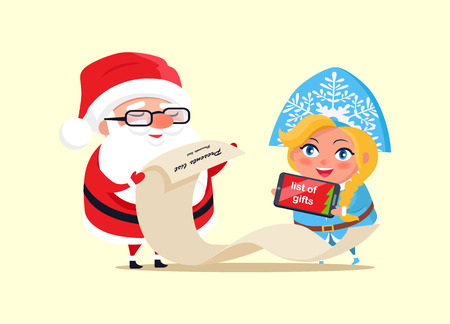 Santa and Wishlist Poster Vector Illustration Illustration