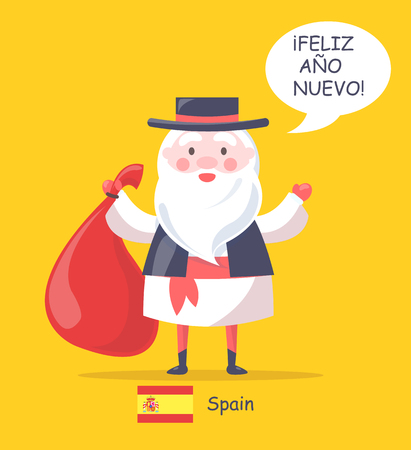 Spain and Santa Claus Poster Vector Illustration