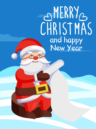 Father Christmas with Paper Scroll Vector on Snow.