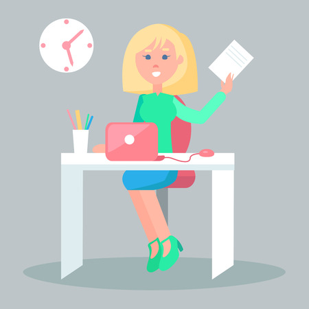 Cartoon female character sits at table with laptop  office