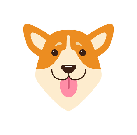 ピンクの舌を持つ犬の頭  イラスト・ベクター素材