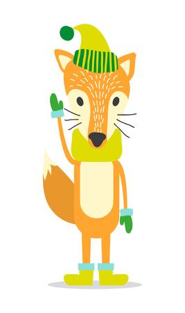 Red fox in warm hat