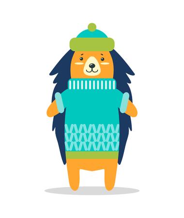 Cute hedgehog in warm hat Ilustrace