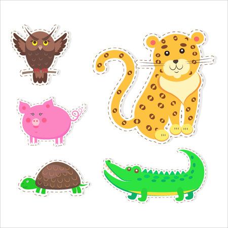 귀여운 동물의 만화 플랫 벡터 스티커 세트