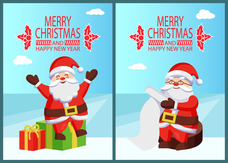Merry Christmas Happy New Year Santa with Presents