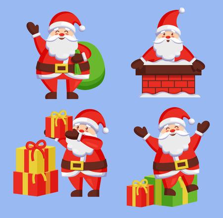 Santa Clauses Set icon Vector Snow Chimney Bag Box