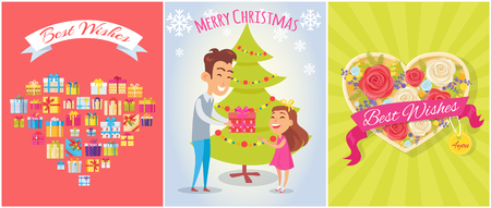 Best Wishes, Merry Christmas Vector Illustration Ilustração