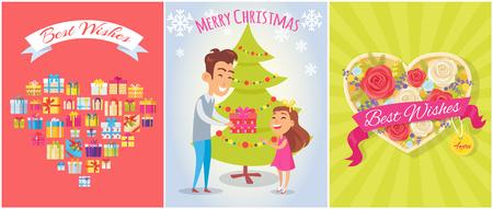 Best Wishes, Merry Christmas Vector Illustration Illusztráció