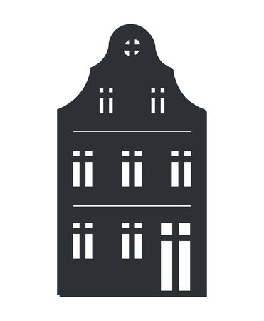Multi Storey House Black Silhouette Isolated Icon