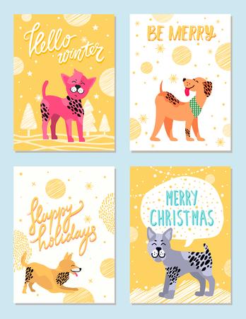 Merry Christmas Happy Holidays Vector Illustration