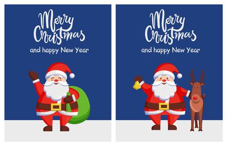 메리 크리스마스 해피 뉴 이어 포스터 산타 가방 사슴 스톡 콘텐츠