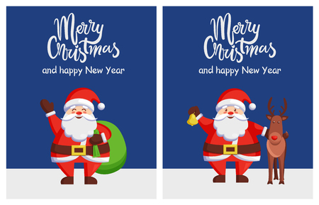 Merry Xmas Happy New Year Poster Santa Bag Deer Stok Fotoğraf