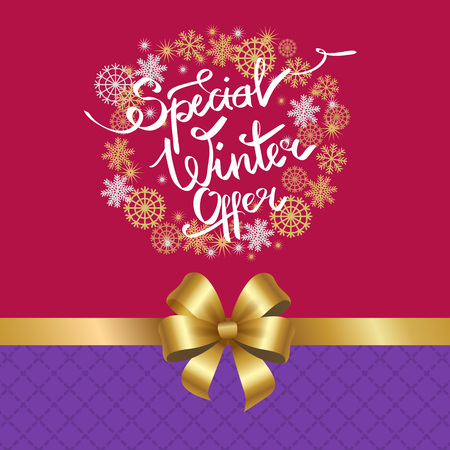 Special Winter Offer in Frame Made of Snowflakes Zdjęcie Seryjne - 92139193