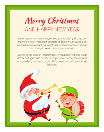 Merry Christmas Happy New Year Santa Claus and card