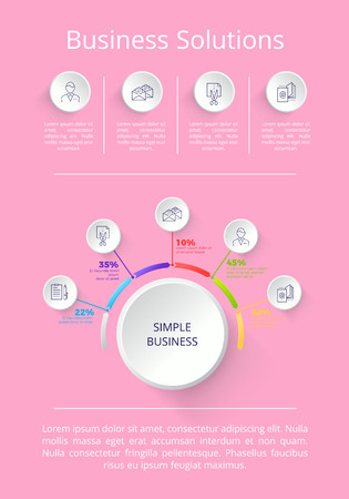 Business solution icons and explanatory information below them, percentage to represent constituent parts vector illustration isolated on pink Ilustração