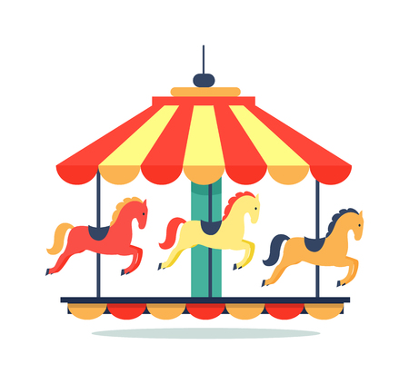 Bright carousel icon isolated on white background. Vector illustration with rotating colorful bright childish merry-go-round with horses and saddles