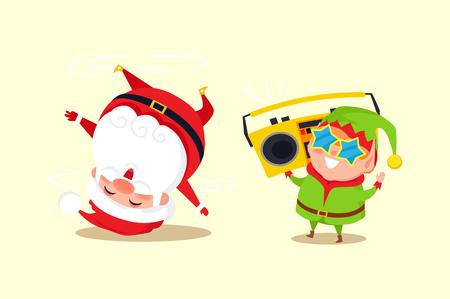 Santa Claus, Elf Tape Recorder Illustration.