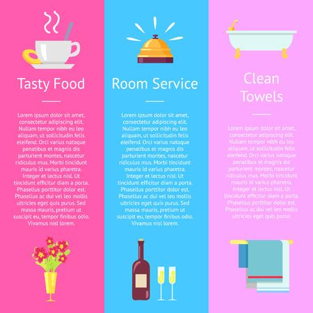 おいしい食べ物、ルームサービス、清潔なタオルポスター  イラスト・ベクター素材