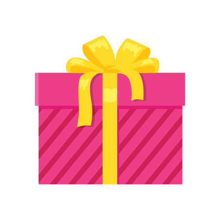 Parcel Icon in Decorative Pink Wrapping Paper Bow Stock Photo