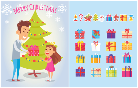 Merry Christmas Postcards Set Piles of Gift Boxes