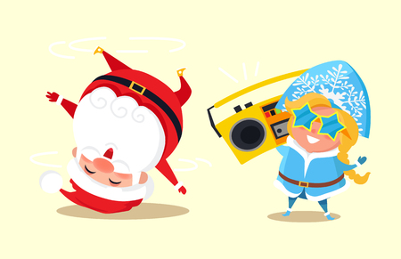 Santa standing on head break dancing and snow maiden in cute star shape glasses listen to music holding retro tape recorder in hands vector characters Illustration