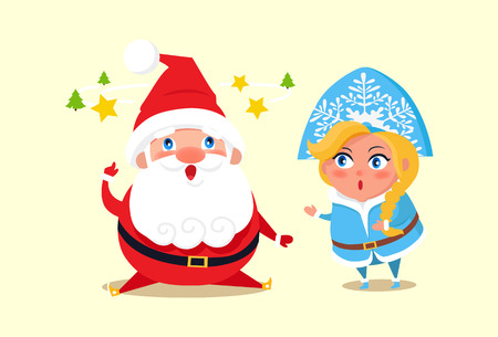Santa Claus wearing costume with belt, Snow Maiden with hat decorated by ornament and hairstyle, icons of tree and star vector illustration