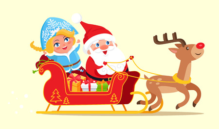 Santa riding on sleigh with Snow Maiden beside him, sled with reindeer full of presents to kids, poster dedicated to holiday vector illustration