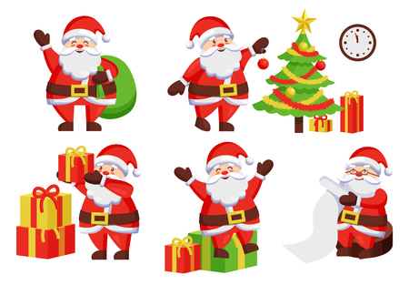 Santa Claus daily activities vector illustration poster. Father Frost decoration New Year tree by hanging color ball, winter holiday symbols vector 向量圖像