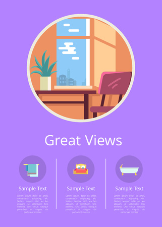 Great views in comfortable cozy hotel rooms with wooden table, soft chair and green indoor plant isolated vector illustration inside circle.
