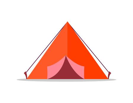 白い背景に赤いテント孤立したイラスト  イラスト・ベクター素材