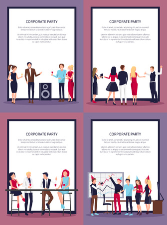 Corporate Party Set of Four on Vector Illustration Stock Vector - 92186974