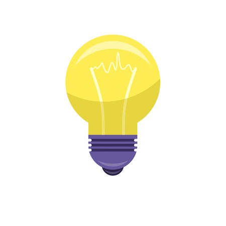 Electrical bulb isolated on white background. Vector illustration of lighting equipment with meaning of new idea in flat style Ilustração
