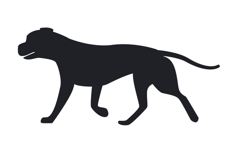 Dog black silhouette profile view vector illustration icon isolated on white background. Canine domestic pet, popular purebred in flat style design