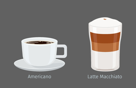 Coffee cups with Americano and Latte Macchiato on grey background with name text under each. Kinds of Italian coffee. Minimalist isolated vector illustration of hot drinks for coffee shops and cafes.