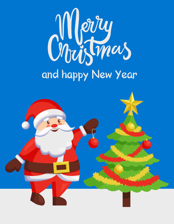 Merry Xmas and Happy New Year poster with Santa Claus decorating tree by color ball. Christmas Father and winter holiday symbol vector illustration