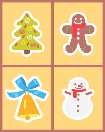 Christmas symbols set of icons on light yellow background. Vector illustration with cute snowman with golden shiny bell and decorated green spruce