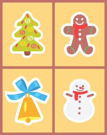 Kerst symbolen set van pictogrammen op lichtgele achtergrond. Vector illustratie met schattige sneeuwpop met gouden glanzende bel en versierde groene sparren