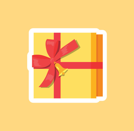 Box decorated by red ribbon with bow and golden bell top view vector illustration. Present gift package with red tape, wrapped present on beige backdrop Stock fotó - 92171617
